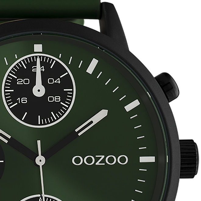 OOZOO Timepieces - gents - dark green leather strap with black watch case