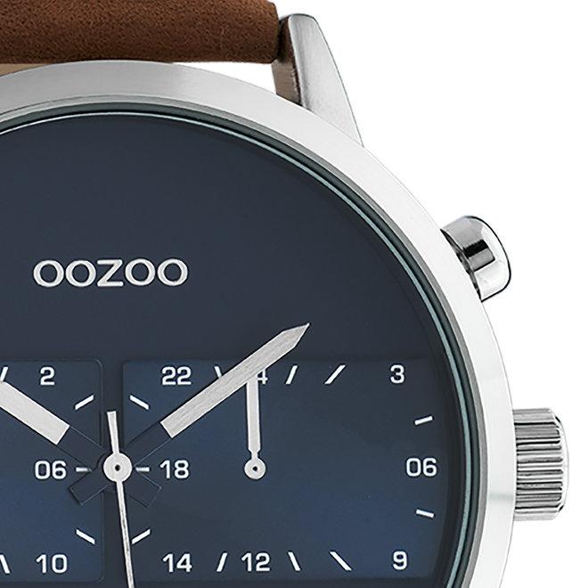 OOZOO Timepieces - unisex - leren band bruin met zilver gekleurde horlogekast