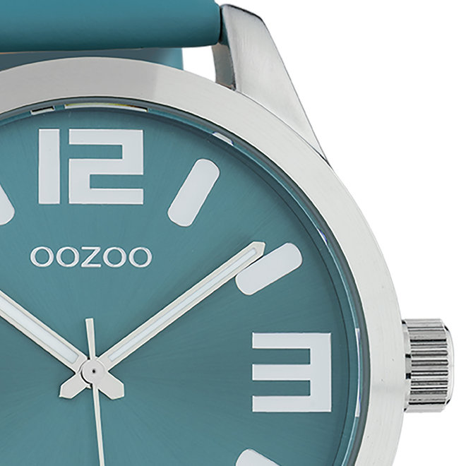 OOZOO Timepieces - unisex - leren band viridian groen met zilver gekleurde horlogekast