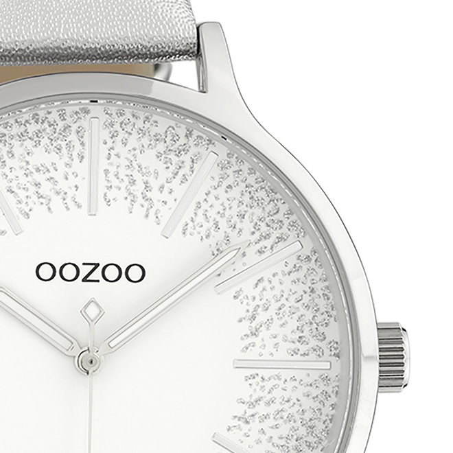 OOZOO Timepieces - ladies - silver leather strap with silver watch case