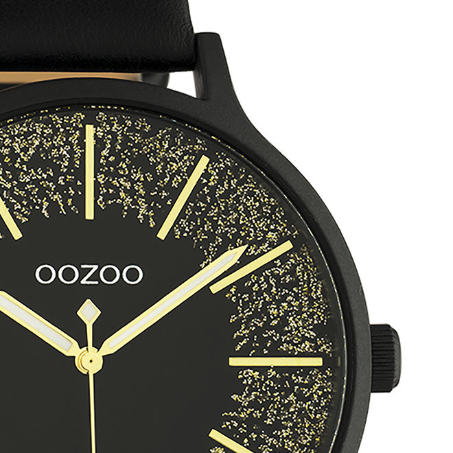 OOZOO Timepieces - dames - leren band zwart met zwart gekleurde horlogekast