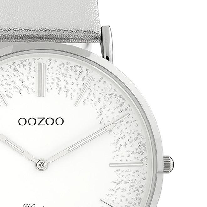 OOZOO Vintage - dames - leren band zilveren met zilver