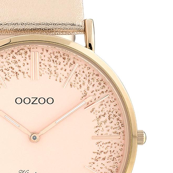 OOZOO Vintage - dames - leren band rosé gouden met rosé goud