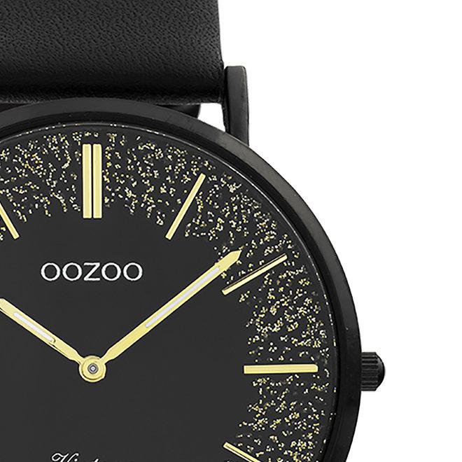 OOZOO Vintage - Ladies - leather strap black met black