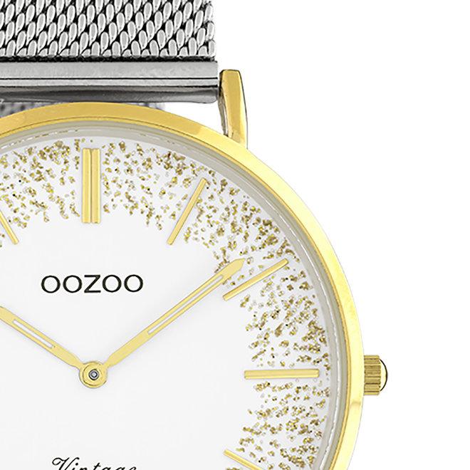 OOZOO Vintage - dames - metalen mesh band zilveren met goud