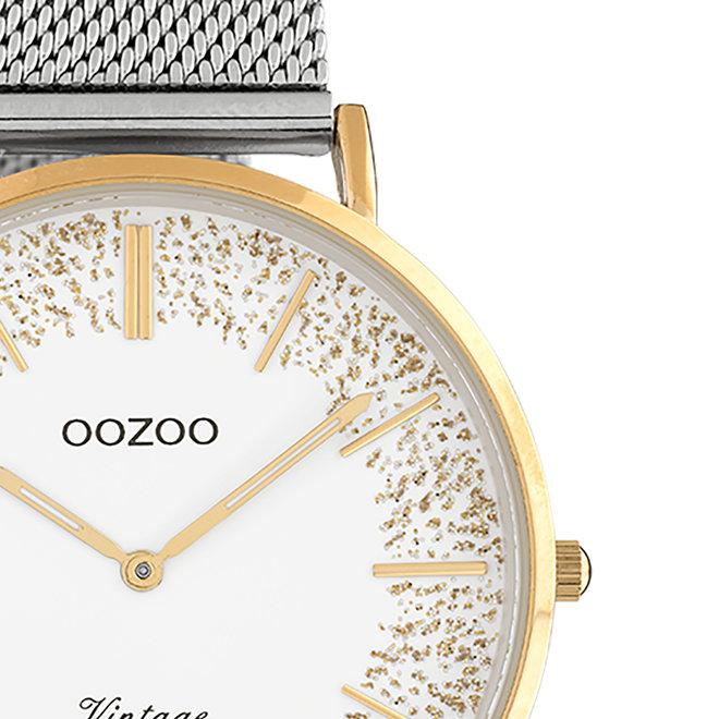 OOZOO Vintage - Ladies - metal mesh strap silver met rose gold
