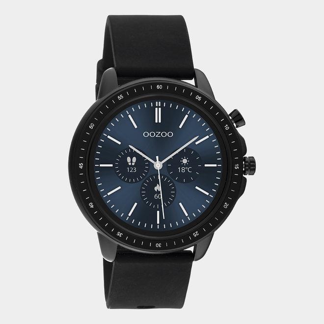OOZOO Smartwatches - unisexe - bracelet en caoutchouc noir avec boîtier noir