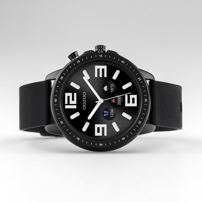 OOZOO Smartwatches - unisex - rubber strap black with black case