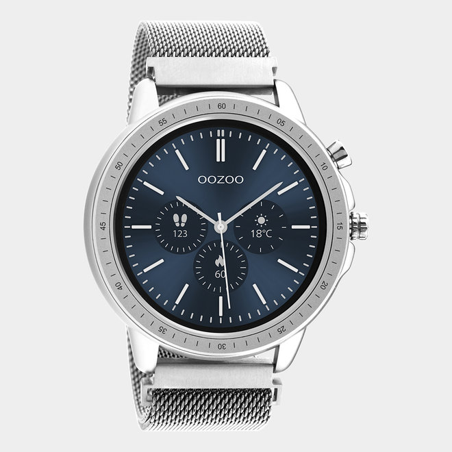 OOZOO Smartwatches - unisex - metalen mesh armband zilver / zilver