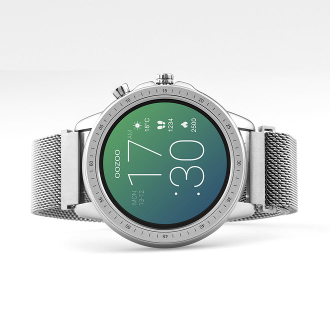 OOZOO Smartwatches - unisex - metal mesh strap silver with silver case