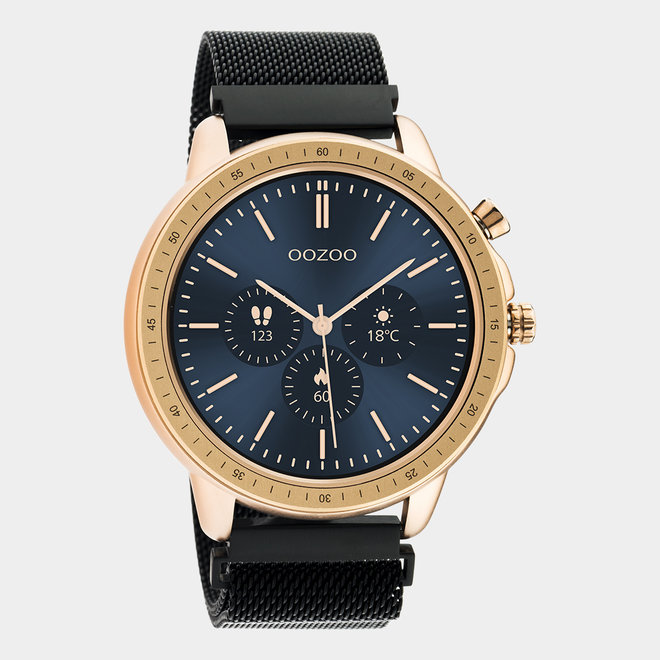 OOZOO Smartwatches - unisex - metalen mesh armband zwart / rosé goud