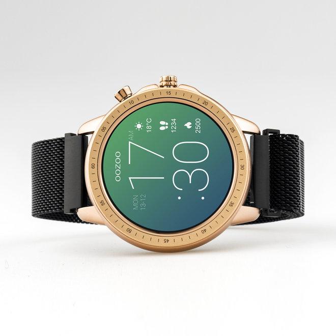 OOZOO Smartwatches - unisex - metalen mesh armband zwart met rosé goud gekleurde kast