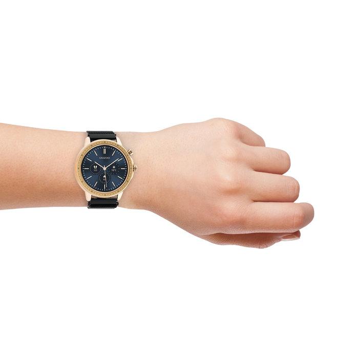 OOZOO Smartwatches - unisexe - bracelet en mesh noir avec boîtier or rose