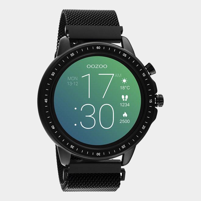 OOZOO Smartwatches - unisex - metalen mesh armband zwart met zwart gekleurde kast