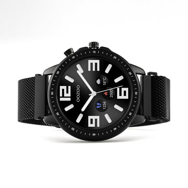 OOZOO Smartwatches - unisexe - bracelet en mesh noir avec boîtier noir