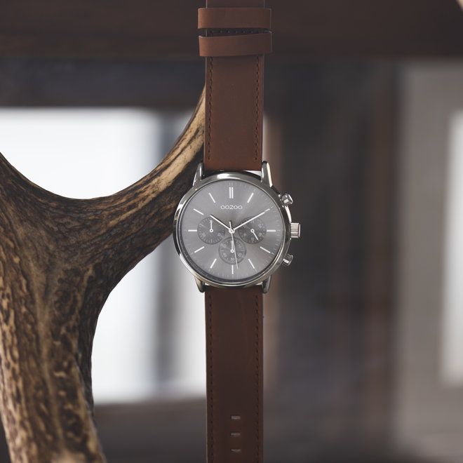 OOZOO Timepieces - gents  - leather strap brow with silver watch case