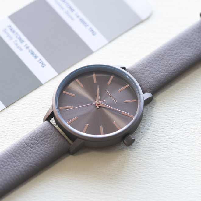 OOZOO Timepieces - ladies - leather strap taupe with taupe watch case