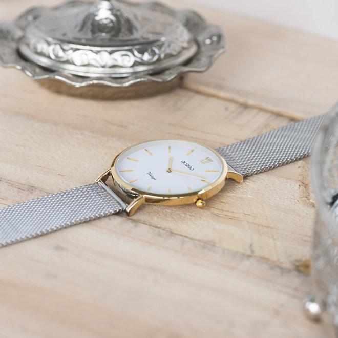 Vintage series - unisexe - bracelet en mesh argent avec or