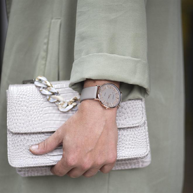 OOZOO Vintage - Ladies - leather strap taupe met rose gold