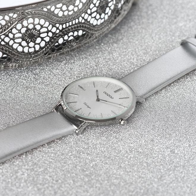 OOZOO Vintage - Ladies - leather strap silver met silver