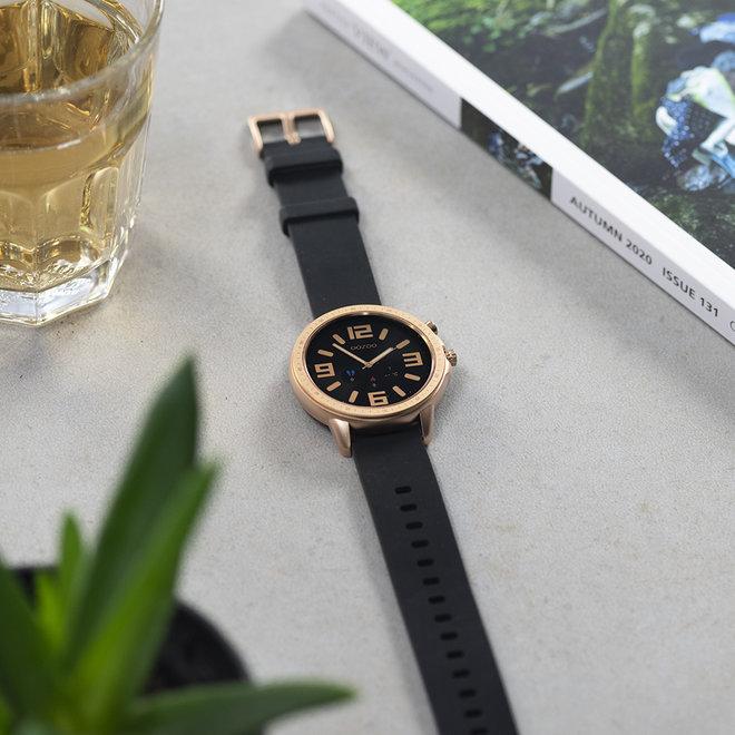 OOZOO Smartwatches - unisexe - bracelet en caoutchouc noir avec boîtier or rose