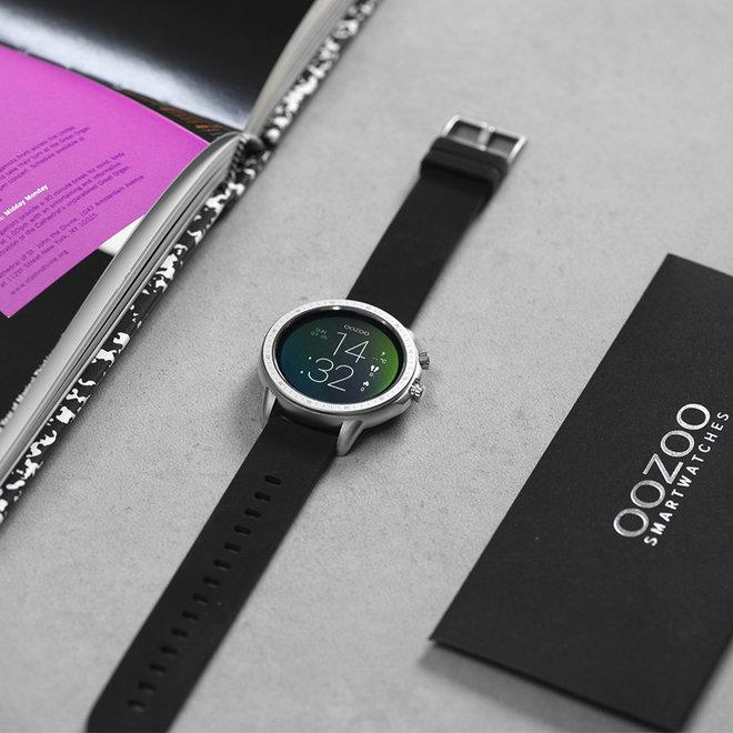 OOZOO Smartwatches - unisexe - bracelet en caoutchouc noir avec boîtier argent