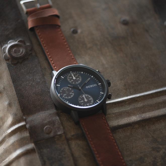 OOZOO Timepieces - heren - leren band bruin met zwart gekleurde horlogekast