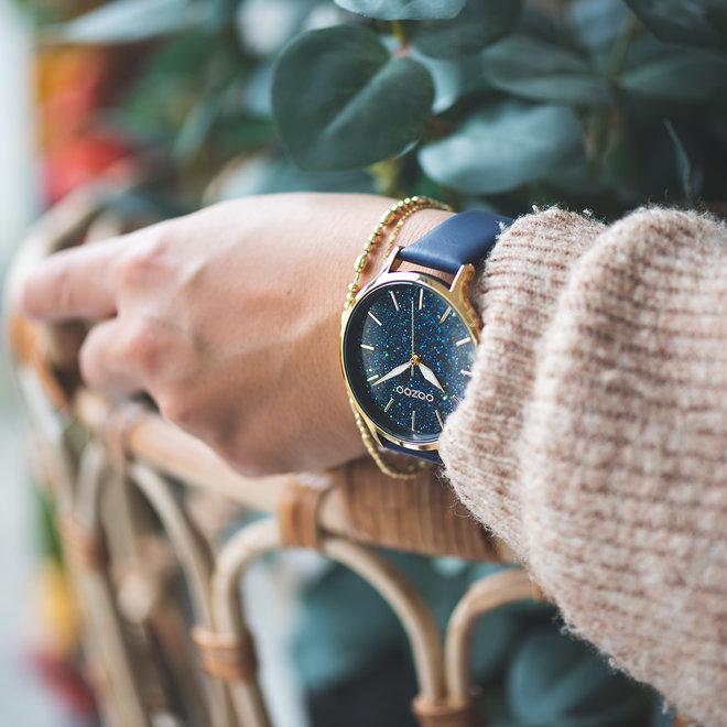 OOZOO Timepieces - dames - leren band diep blauw met goud gekleurde horlogekast