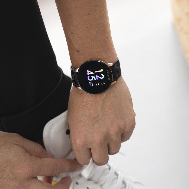 OOZOO Smartwatches - unisex - metalen mesh band zwarte met rosé goud