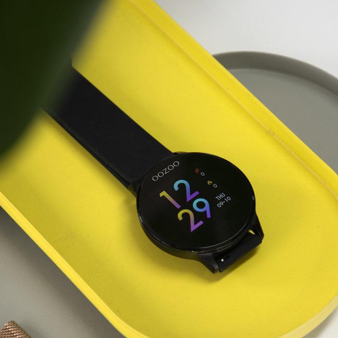 OOZOO Smartwatches - unisexe - bracelet en caoutchouc noir avec noir