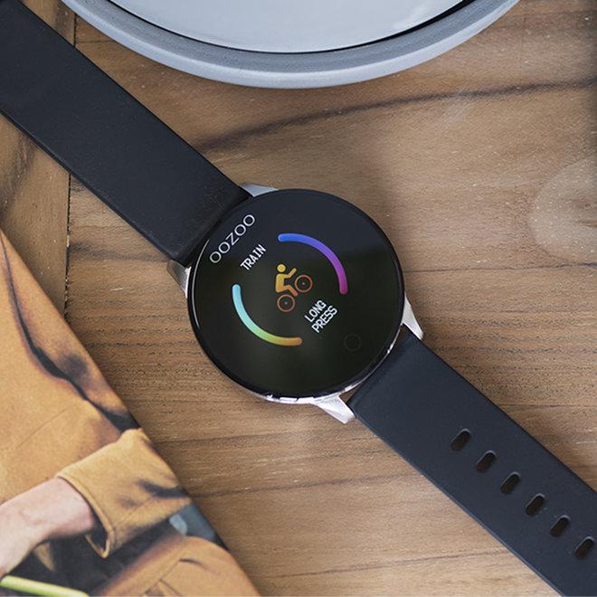 OOZOO Smartwatches - unisex - rubber band zwarte met zilver