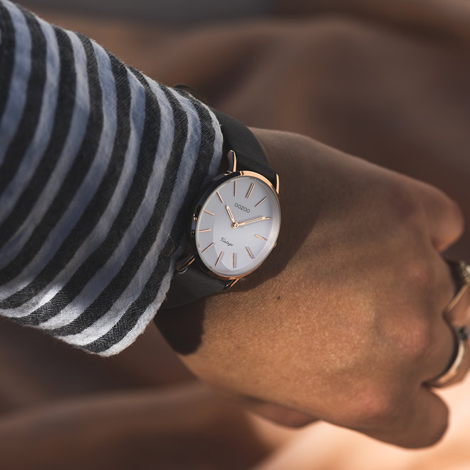 Vintage series - ladies - leather strap elephant grey with rose gold  watch case