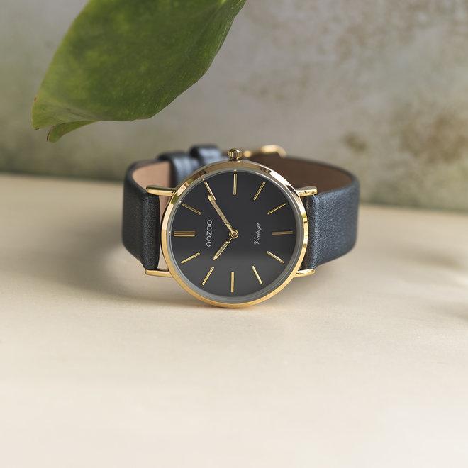 Vintage series - femmes - bracelet en cuir bleu nuit avec or
