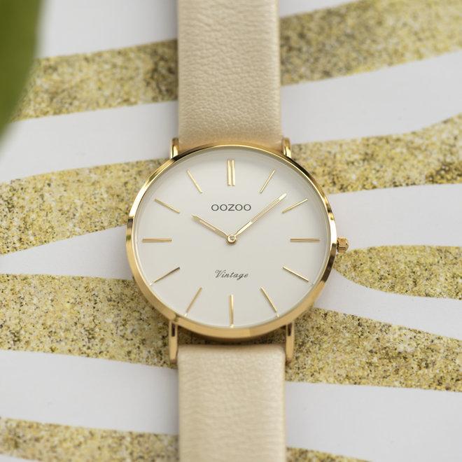 Vintage series - dames - leren band goud  met goud  horlogekast