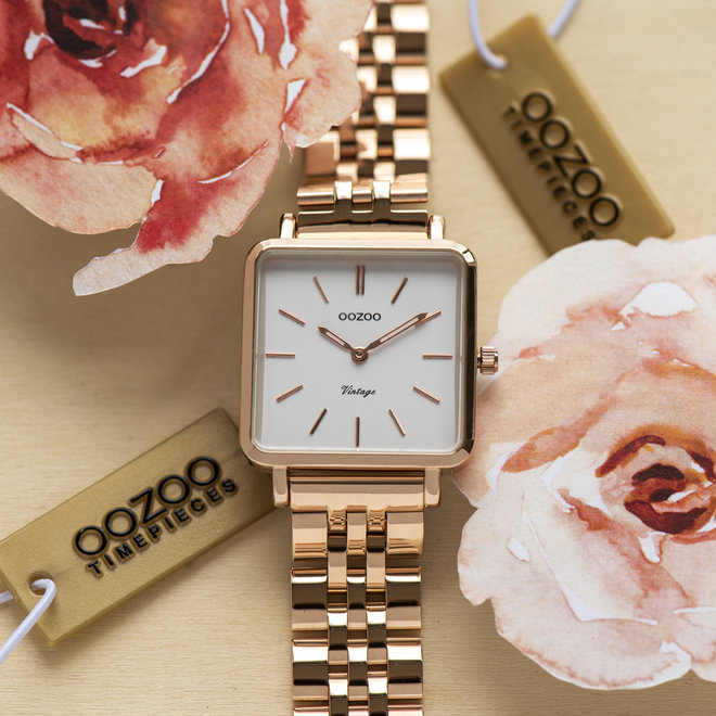 Vintage series - ladies - stainless steel bracelet rose gold  with rose gold  watch case