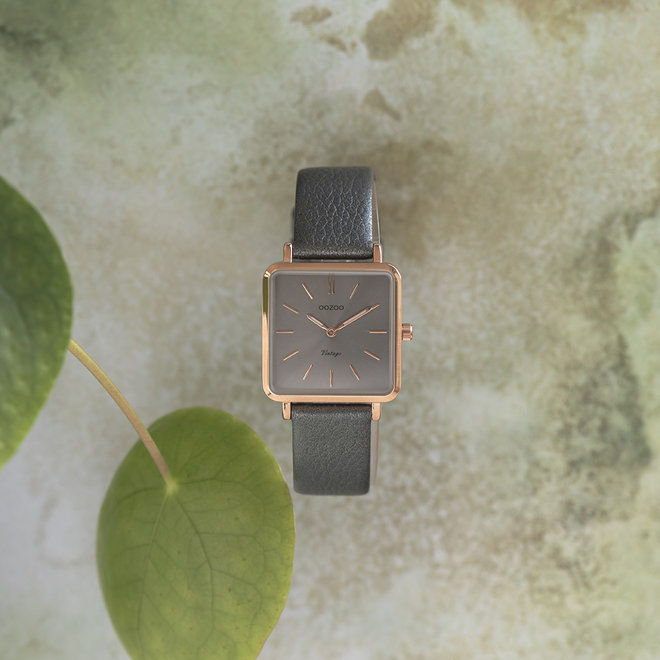 Vintage series - ladies - leather strap silver grey  with rose gold  watch case