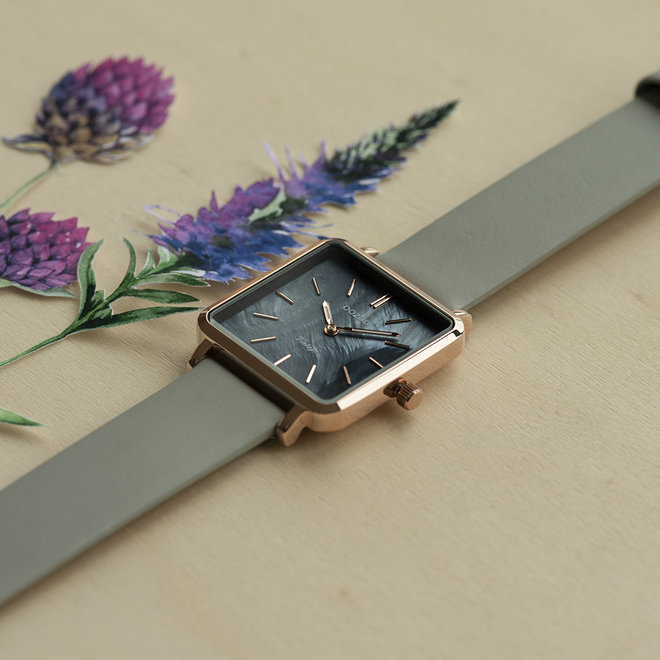 Vintage series - femmes - bracelet en cuir stone gris avec or rose