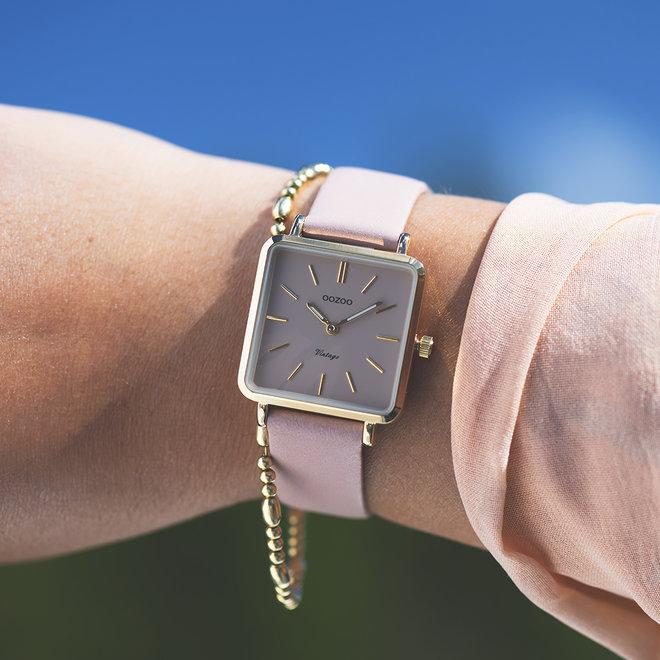 Vintage series - ladies - leather strap pinkgrey  with gold  watch case