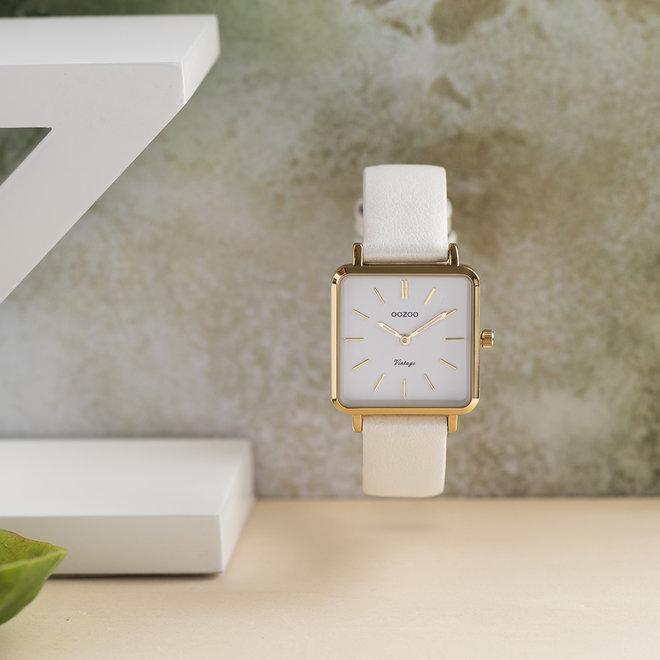 Vintage series - dames - leren band parel wit  met goud  horlogekast