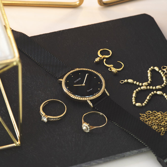 Vintage series - ladies - mesh strap black with gold watch case