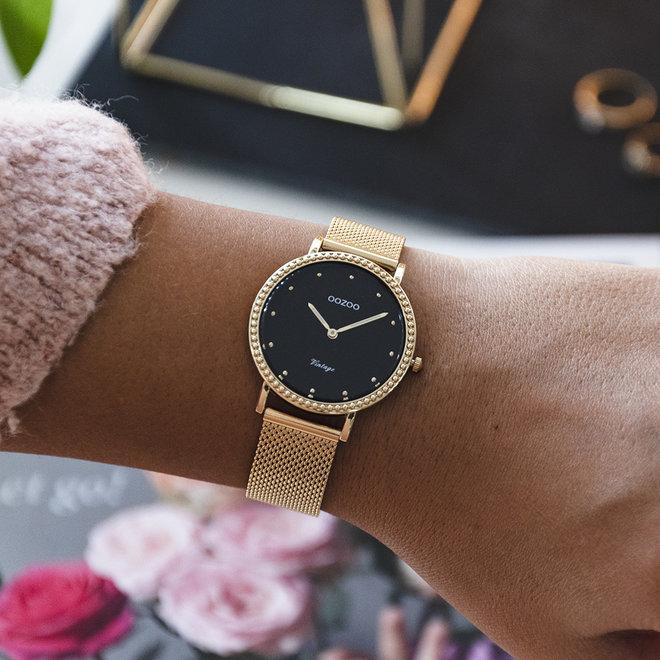 Vintage series - dames - mesh band goud met goud horlogekast