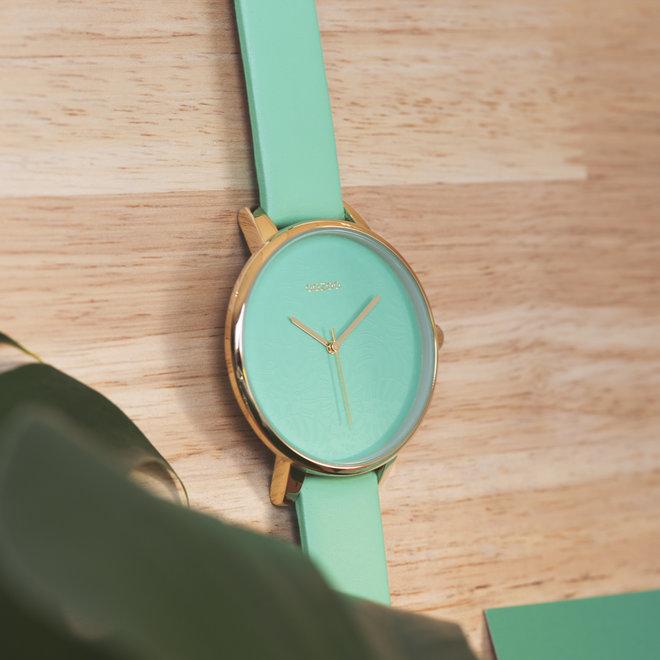 OOZOO Timepieces - femmes - bracelet en cuir vert clair met or horlogekast