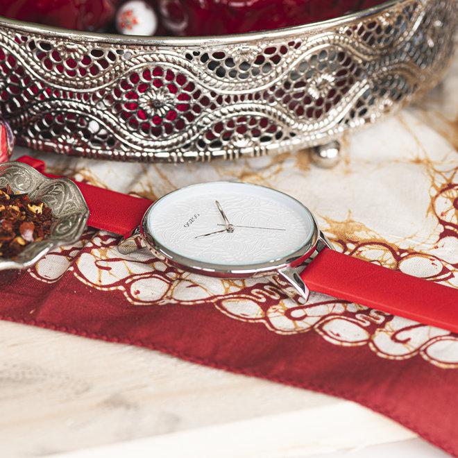 OOZOO Timepieces - dames  - leren band rood met zilver horlogekast