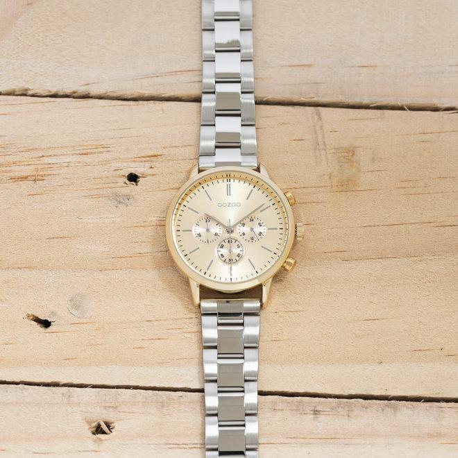 OOZOO Timepieces - unisex  - stainless steel armband zilver met goud  horlogekast