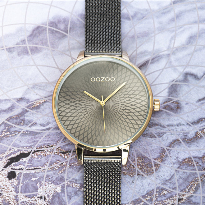 OOZOO Timepieces - ladies  - mesh strap titanium  with gold  watch case