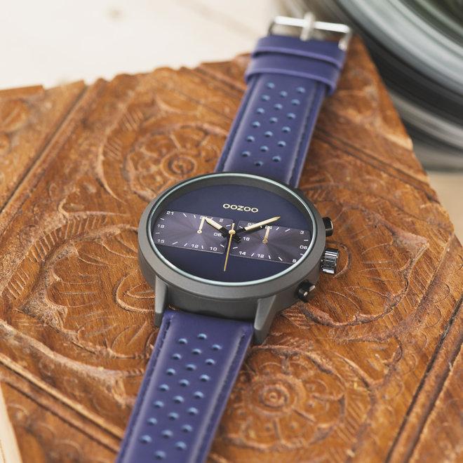 OOZOO Timepieces - heren - leren band blauw met zwart horlogekast