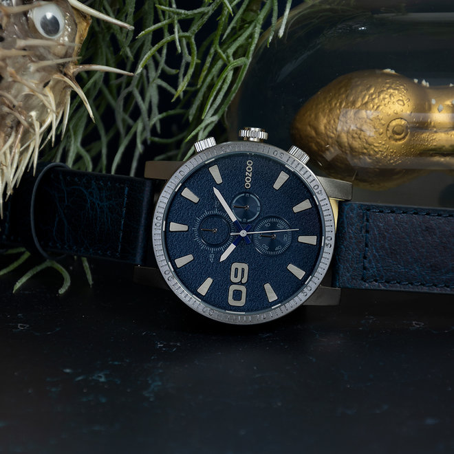 OOZOO Timepieces - gents - leather strap jeans with titanium watch case