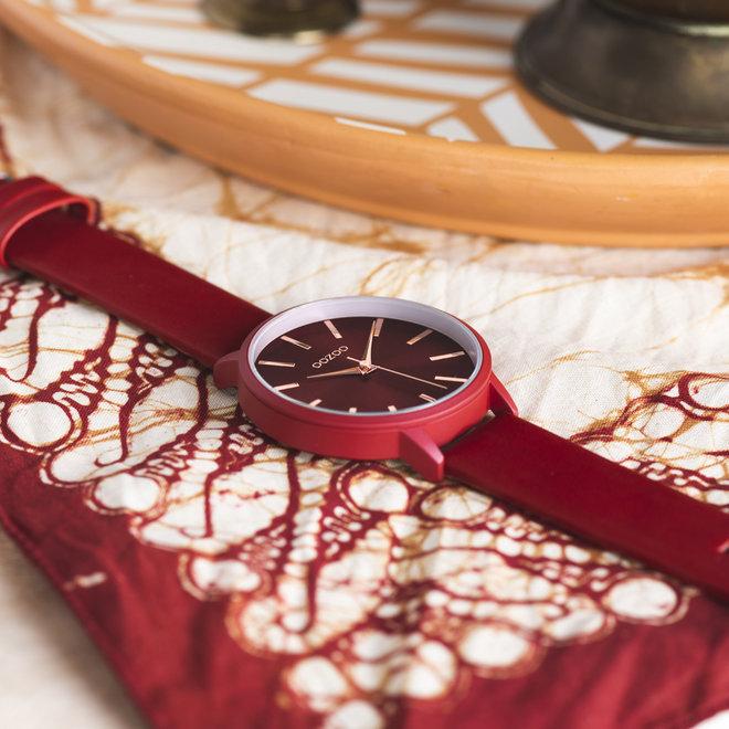 OOZOO Timepieces - dames - leren band chili peper met chili peper horlogekast