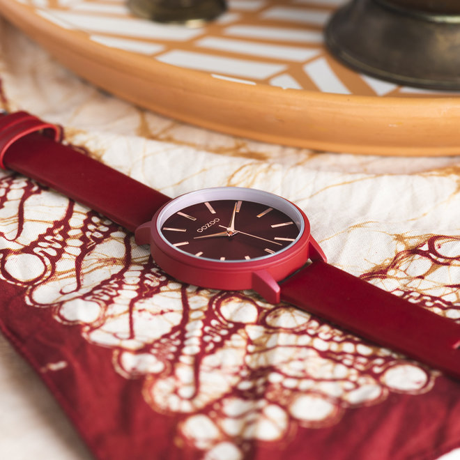 OOZOO Timepieces - ladies - leather strap chili pepper with chili pepper watch case