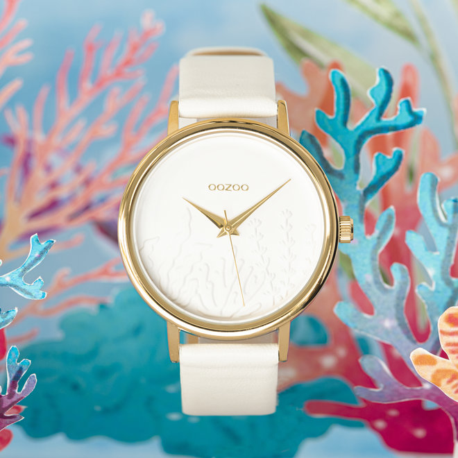 OOZOO Timepieces - ladies - leather strap white with gold watch case